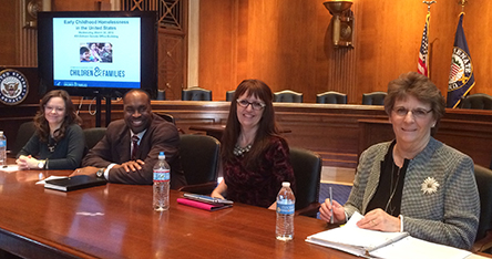 Linda K. Smith, Kresta Horn, Khari Garvin and Carie Bires panel at Early Childhood Homelessness briefing