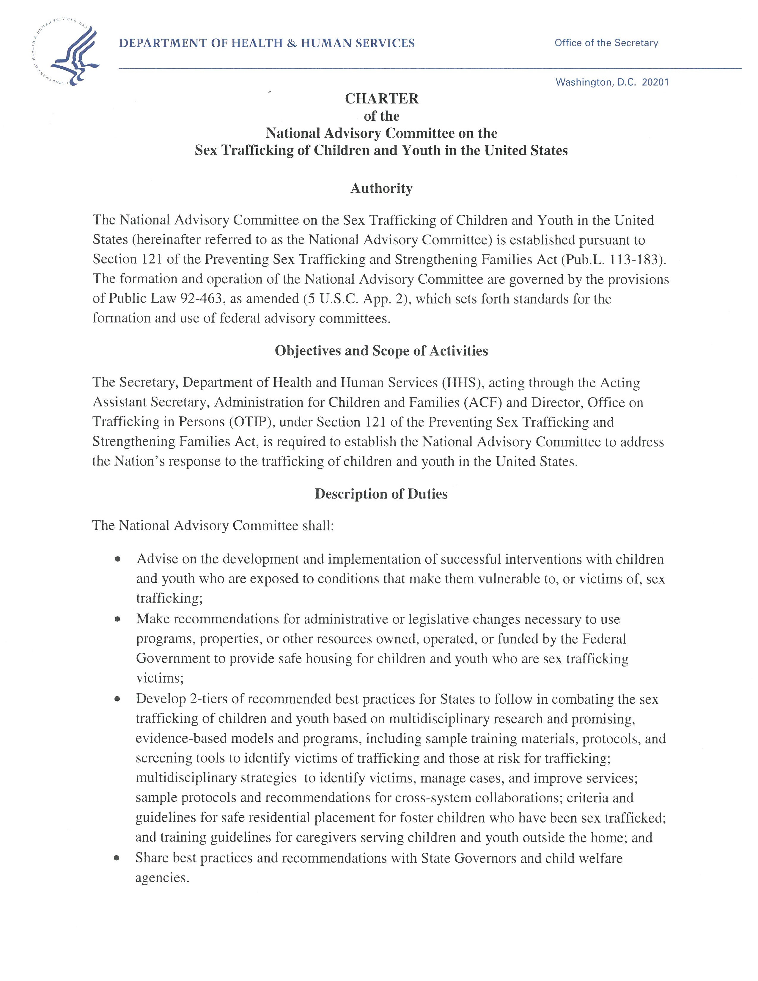 Charter for the National Advisory Committee