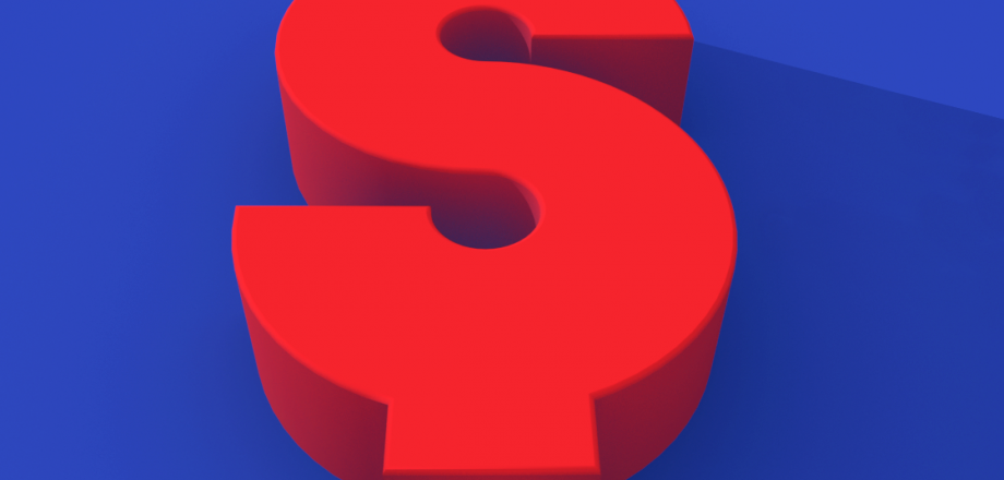 Large red dollar sign with blue background