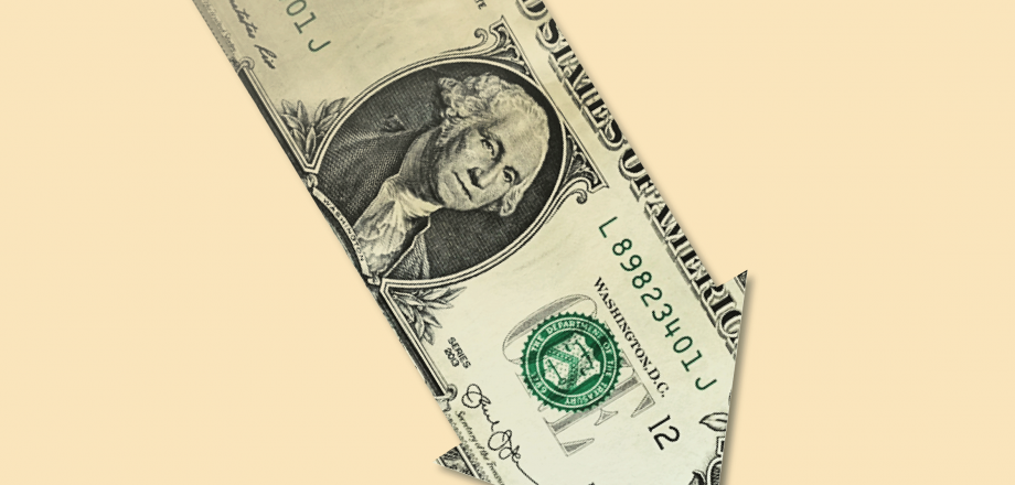 Image of a down arrow dollar bill