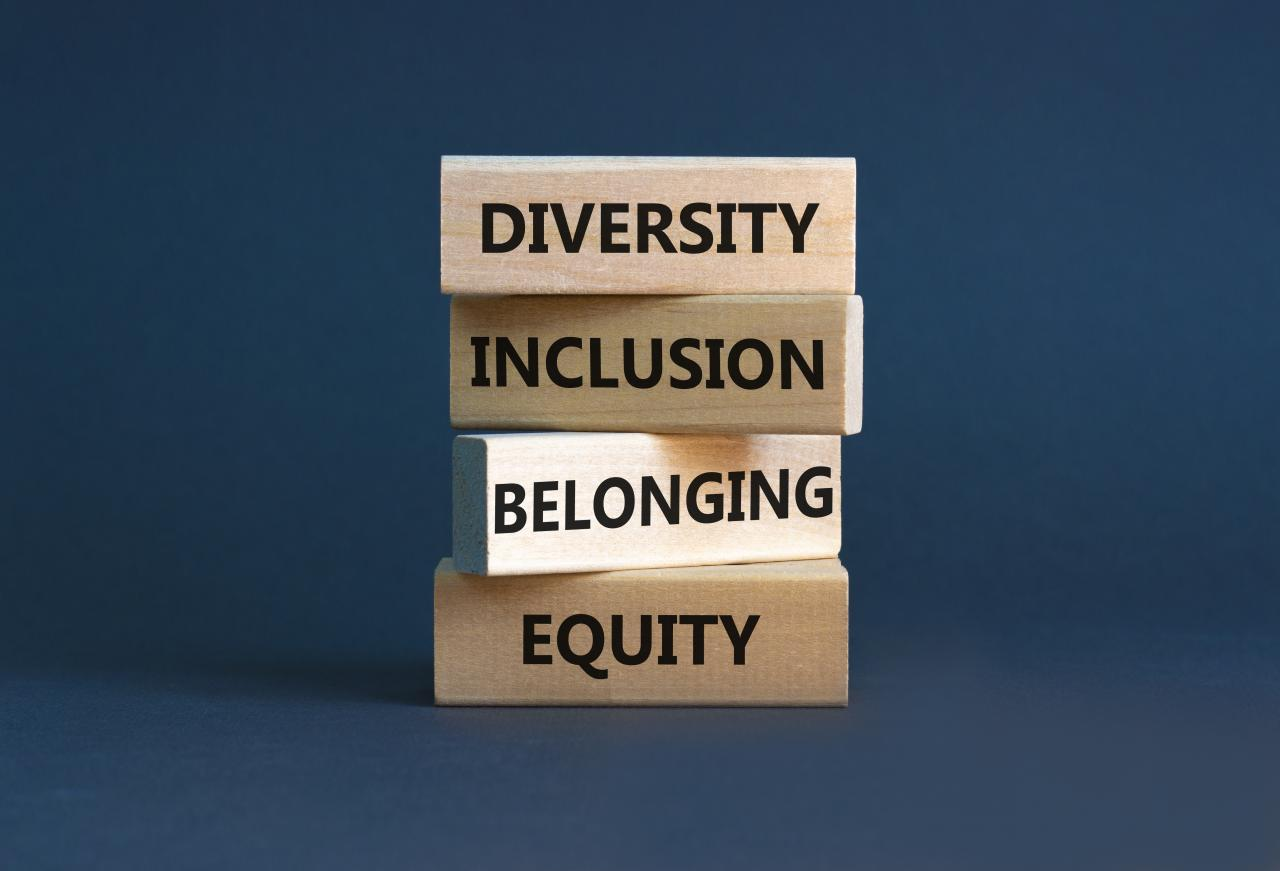 Blocks showing diversity, equity, inclusion, and belonging.