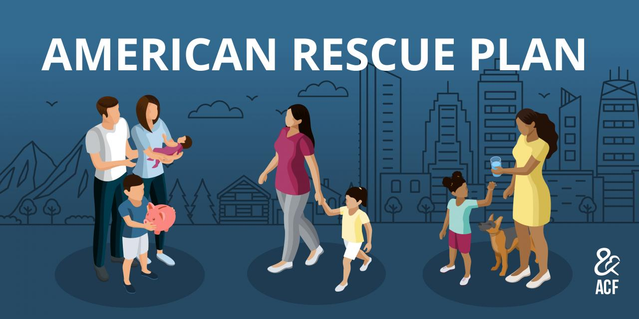 American Rescue Plan graphic with diverse families in front of rural, suburban, and urban landscapes.