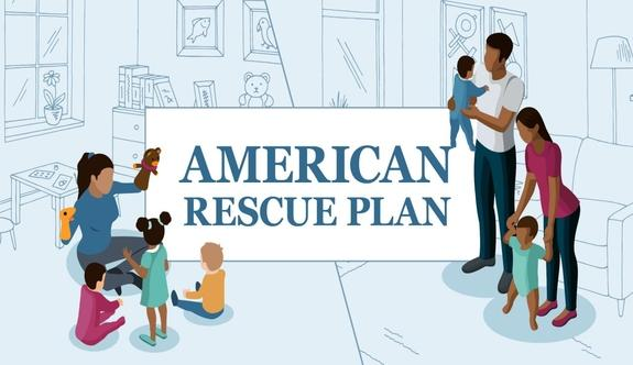 American Rescue Plan illustration with diverse families.
