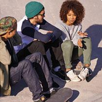 Three young people talking