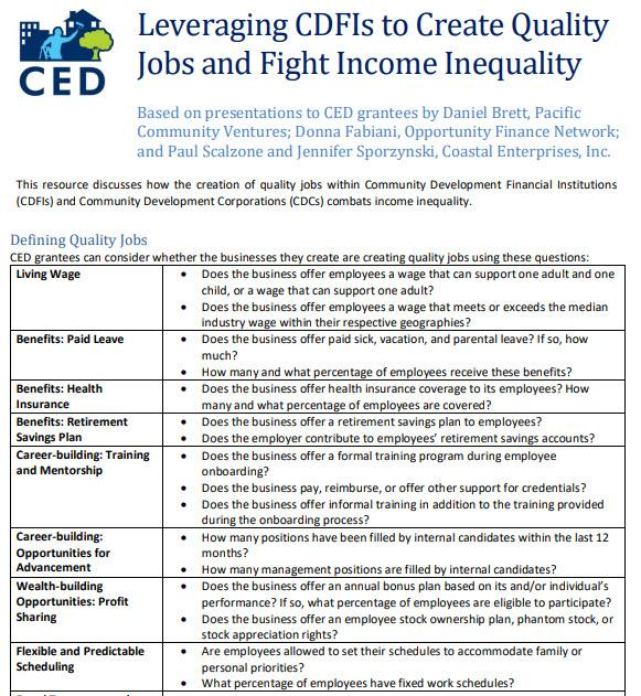 Leveraging CDFIs to Create Quality Jobs and Fight Income Inequality Screenshot