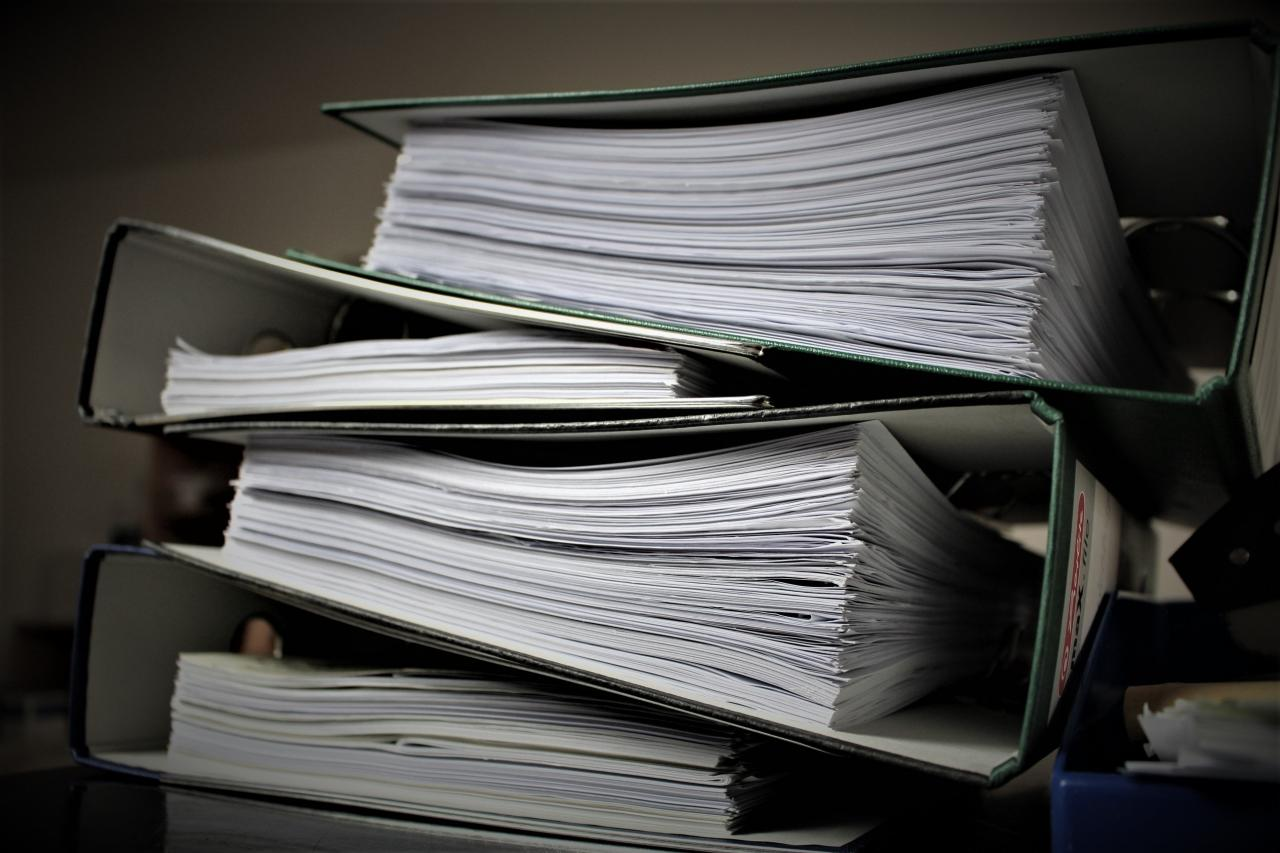 Picture of binders stacked on top of each other