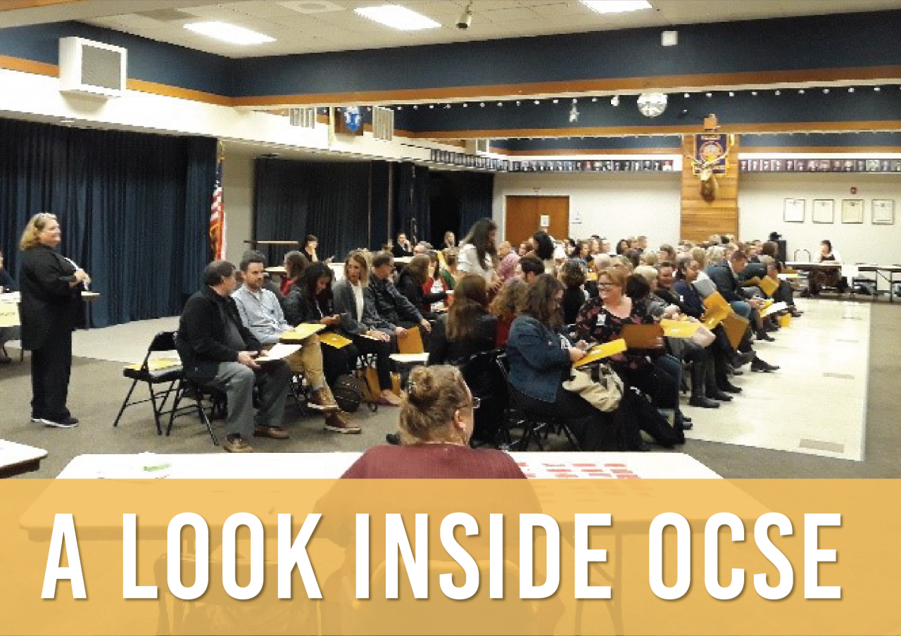 A photo of a group of people participating in a training and the words A Look Inside OCSE are superimposed over the photo