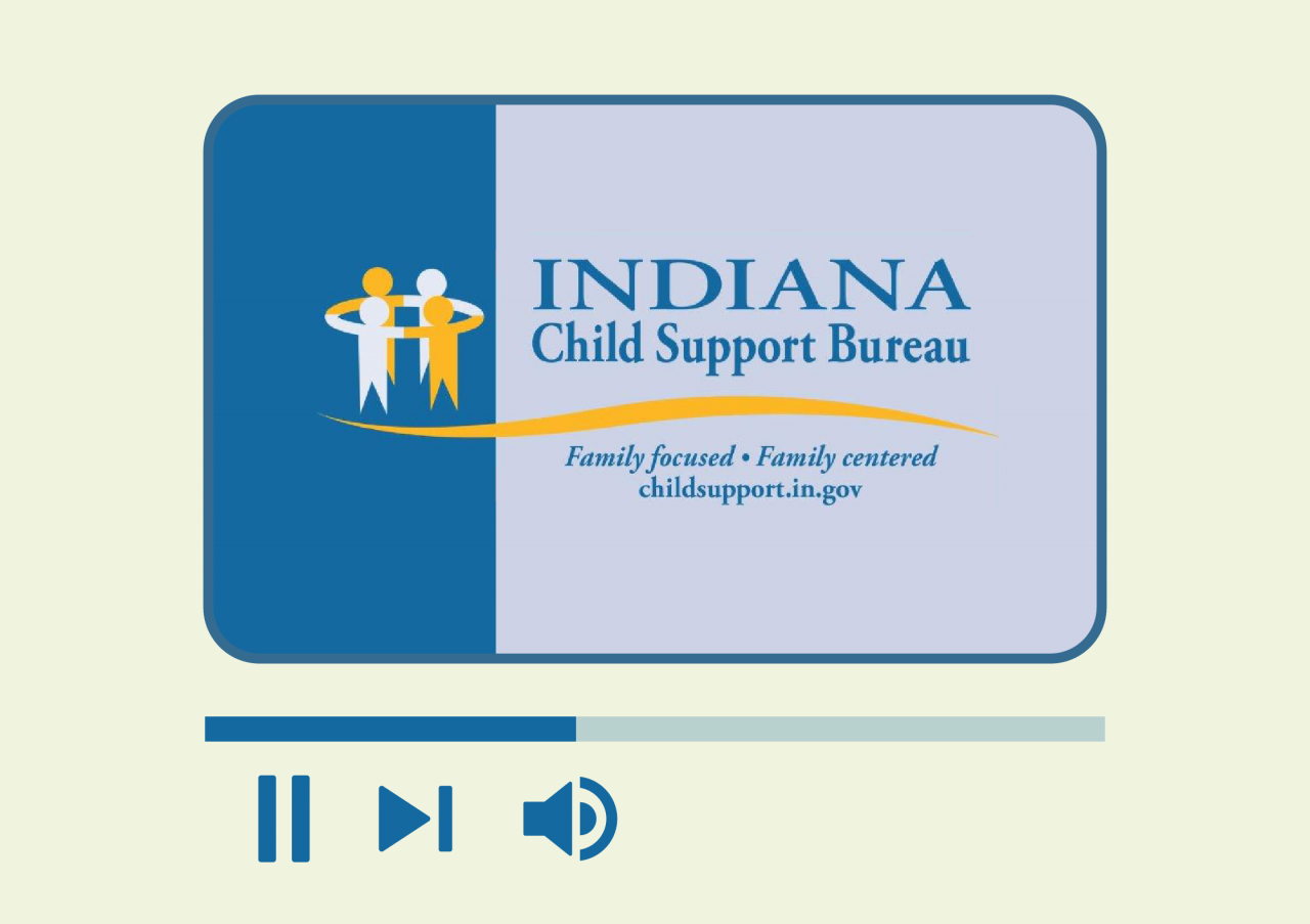 Image displaying Indiana Child Support logo and pause or play button beneath