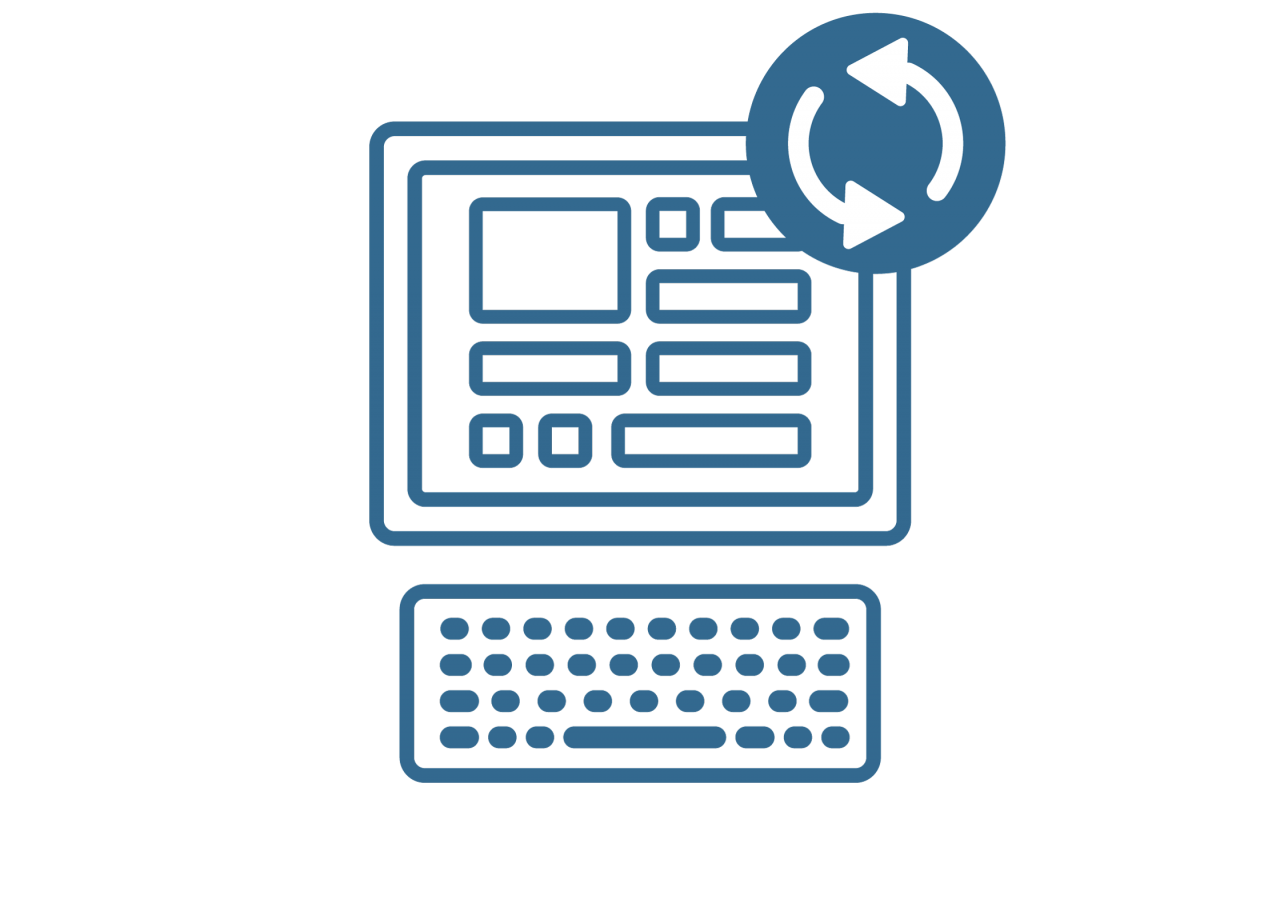 Illustration of a computer with circle arrows at top right corner
