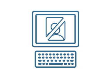 illustration of a computer with a cross out sign on the screen