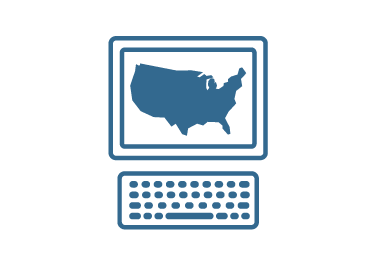 Illustration of a computer with U.S map on the screen