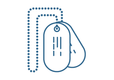 Line icon in blue of dog tags