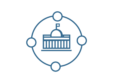 Illustration of US capitol with 4 connected circles around the capitol