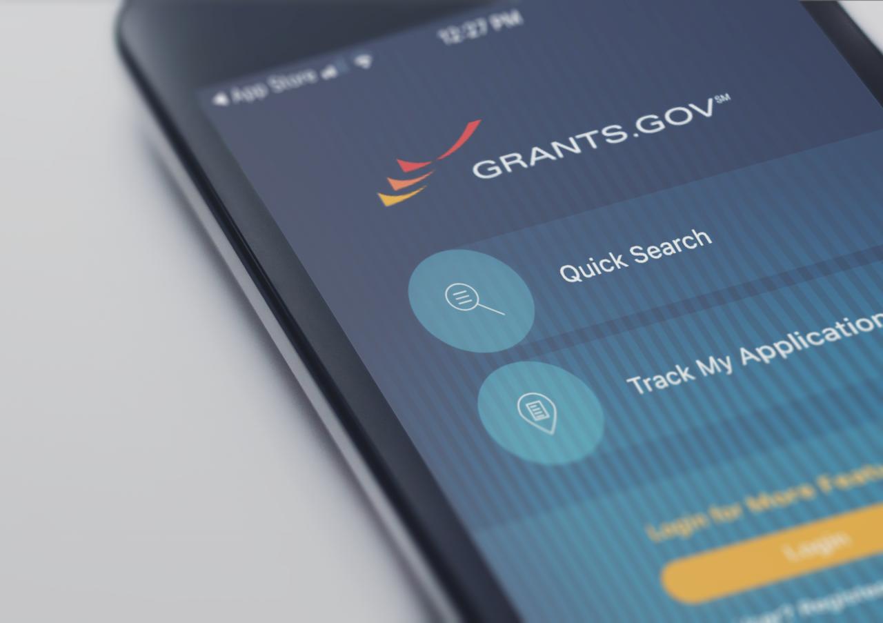 mobile device showing grants.gov app