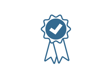Line art blue ribbon with check mark