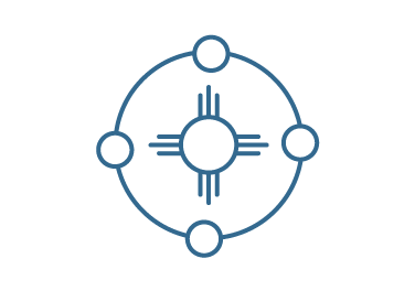 Illustration of tribal sign with 4 connected circles around