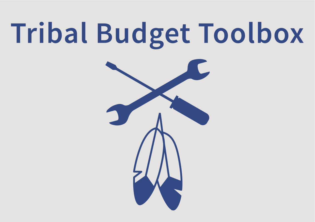 Tribal Budget Toolbox logo - crossed wrench and screwdriver over two feathers