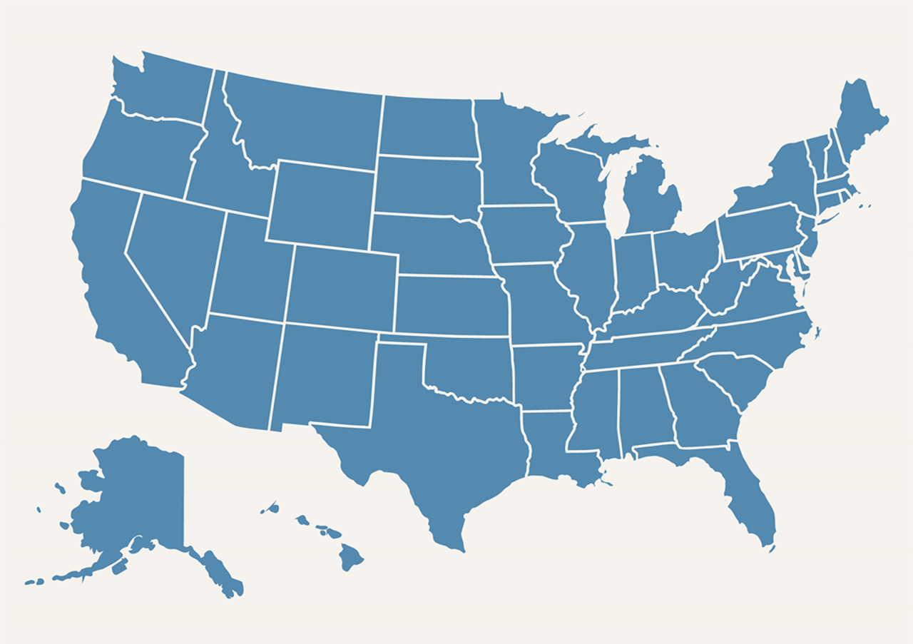 A US map in blue color