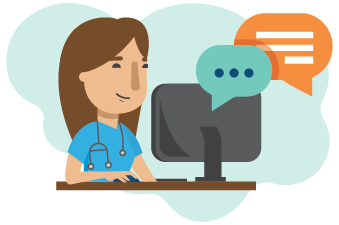 An illustration of a nurse smiling at a computer.