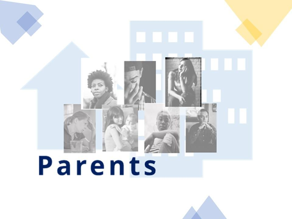 Collage of parent persona images with a gray city background