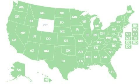 US Map of ORR Participating States