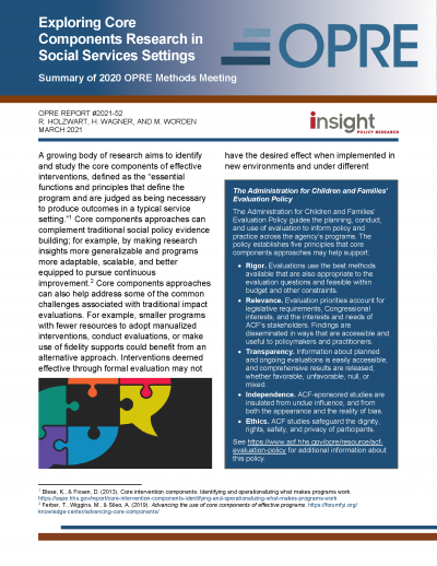 Cover image for Exploring Core Components Research in Social Services Settings