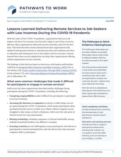 Cover image for Lessons Learned Delivering Remote Services to Job Seekers with Low Incomes During the COVID-19 Pandemic