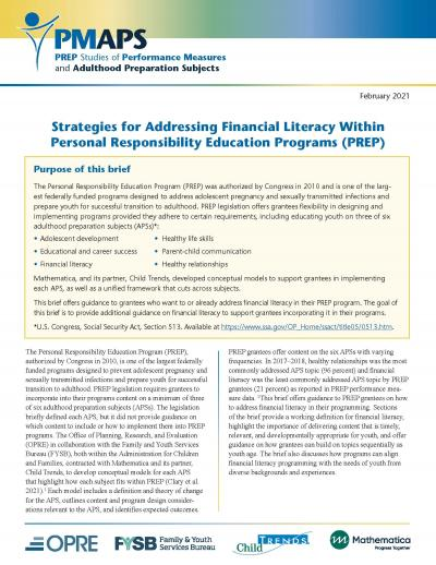 Cover image for Strategies for Addressing Financial Literacy within PREP