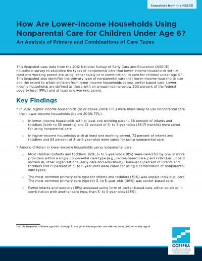 Cover image for Lower-Income Households and Nonparental Care snapshot