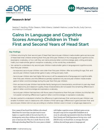 Cover image for Gains in Language and Cognitive Scores Among Children in Their First and Second Years of Head Start