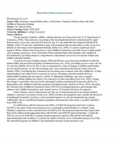 Head Start Dissertation Grants abstracts cover image