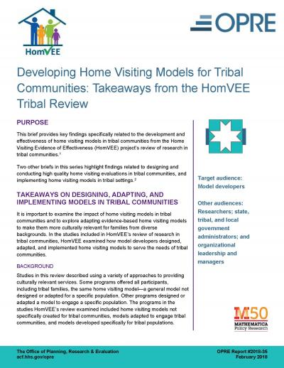 Cover image for Developing Home Visiting Models for Tribal Communities