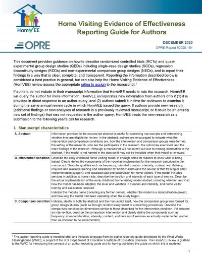 Cover image for HomVEE Reporting Guide for Authors 2020