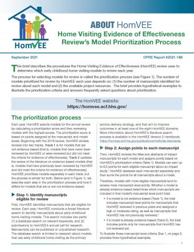 Cover image for Home Visiting Evidence of Effectiveness Review's Model Prioritization Process