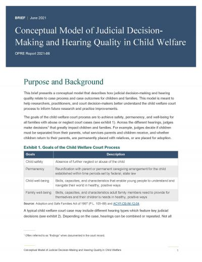 Cover image for Conceptual Model of Judicial Decision-Making and Hearing Quality in Child Welfare