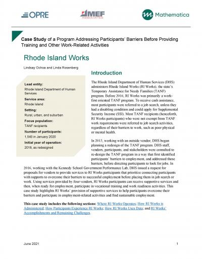 Cover image for Case Study of a Program Addressing Participants' Barriers Before Providing Training and Other Work-Related Activities: Rhode Island Works