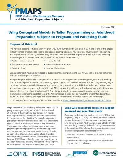 Cover image for Using Conceptual Models to Tailor Programming on Adulthood Preparation Subjects to Pregnant and Parenting Youth