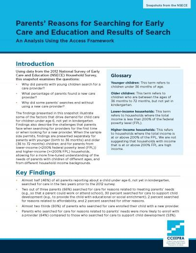 Cover image for Parents' Reasons for Searching for Early Care and Education and Results of Search