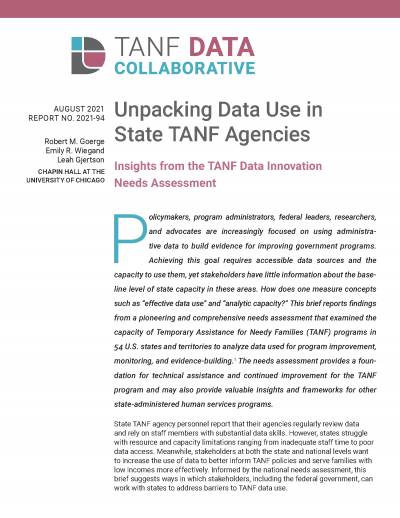 Unpacking Data Use in State TANF Agencies Cover