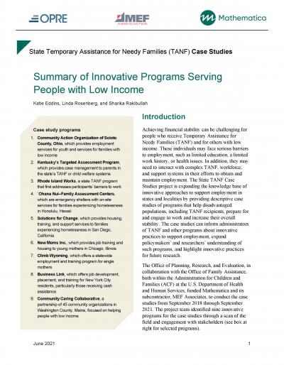 Cover image for State Temporary Assistance for Needy Families (TANF) Case Studies