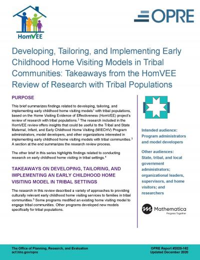 Cover image for Developing, Tailoring, and Implementing Early Childhood Home Visiting Models in Tribal Communities