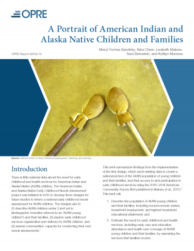 A Portrait of American Indian and Alaska Native Children and Families Cover