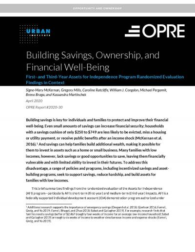 This is the cover for Building Savings, Ownership, and Financial Well-Being: First- and Third-Year Assets for Independence Program Randomized Evaluation Findings in Context