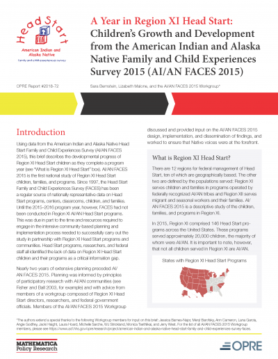 A Year in Region XI Head Start: Children's Growth and Development from the American Indian and Alaska Native Family and Child Experiences Survey 2015 (AI/AN FACES 2015) Cover