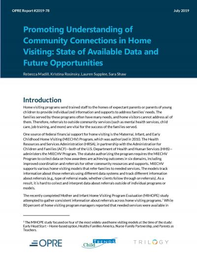 Promoting Understanding of Community Connections in Home Visiting: State of Available Data and Future Opportunities Cover