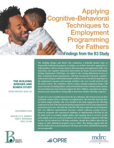 "Cover of ""Applying Cognitive-Behavioral Techniques to Employment Programming for Fathers"""