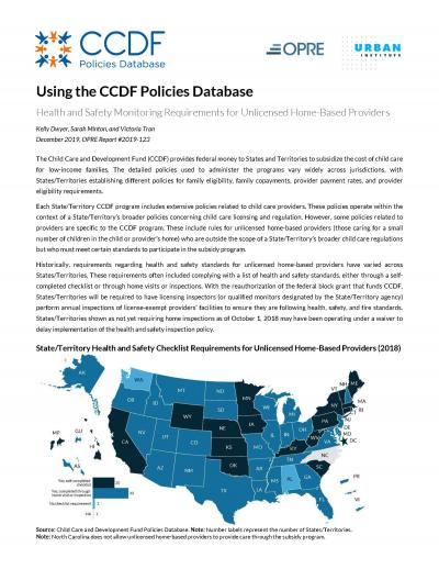 """Cover of """"Using the CCDF Policies Database"""" 2018 fact sheets."""