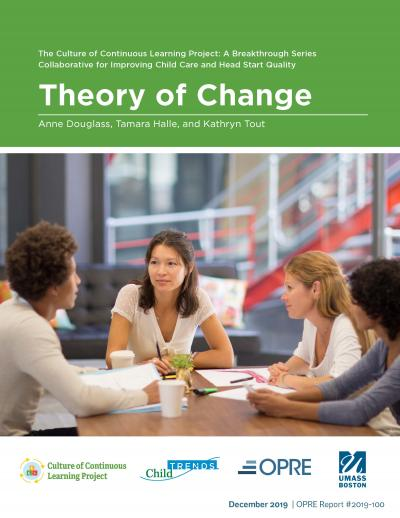 """Cover of """"The Culture of Continuous Learning Project: A Breakthrough Series Collaborative for Improving Child Care and Head Start Quality"""" Theory of Change brief."""