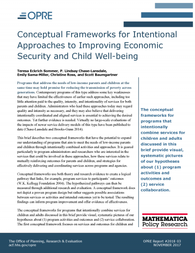 Conceptual Frameworks for Intentional Approaches to Improving Economic Security and Child Well-Being