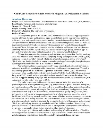 """First page of """"Child Care Graduate Student Research Program: 2019 Research Scholars."""""""